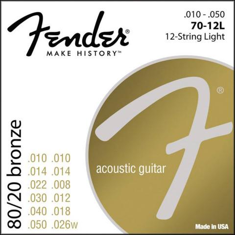 Fender 80/20 Bronze Wound akoestische snarenset 12-snarig light .010-.010-.014-.014-.022-.008-.030-.012-.040-.018-.050-.026w