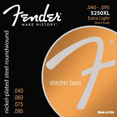 Fender Super 5250s snarenset elektrische basgitaar nickel plated steel shortscale 30 inch extra light.040-.060-.075-.095