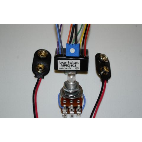 Bartolini MPB2Kit/918 Buffer Adjustable Gain Dual Channel - 1 Magnetic 1 Piezo met flat response 9 or 18V met Active Blend Pot