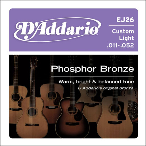 DAddario snarenset akoestisch phosphor bronze custom light 011-015-022-032-042-052