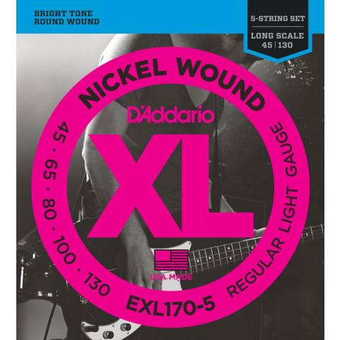 DAddario XL Nickel Round Wound Bass snarenset 5-snarige longscale basgitaar regular light .045-.065-.080-.100-.130