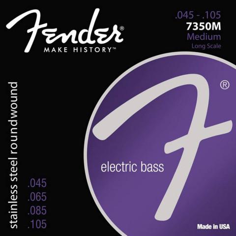 Fender Stainless 7350s snarenset elektrische basgitaar stainless steel roundwound medium.045-.065-.085-.105
