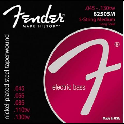 Fender Super 8250s snarenset 5-.snarige basgitaar (snaren door body) nickel roundwound medium.045-.065-.085-.110tw-.130tw