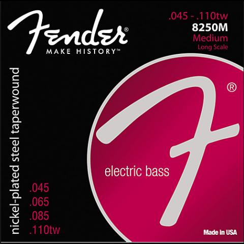 Fender Super 8250s snarenset basgitaar (snaren door body) nickel roundwound medium.045-.065-.085-.110tw