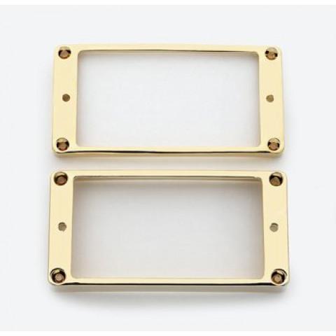 Metalen humbucker pickup ringen set met gebogen bodem goud